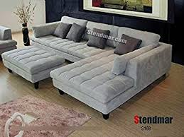 firm sectional sofa amazon com 3pc new modern gray microfiber sectional sofa s168rg
