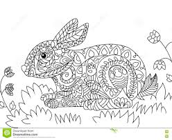 rabbit coloring vector adults stock vector image 79908310