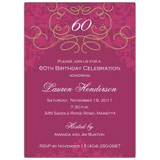 60th birthday fleur plum invitations paperstyle