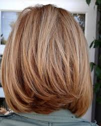 medium bob hairstyle front and back back view of layered shoulder length bob hairstyle 17