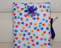 fabric photo album colorful paws etsy studio