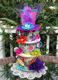 mad hatter oversized handpainted stacked teacup centerpiece 1