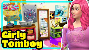 the sims 4 girly tomboy kids bedroom speed build youtube