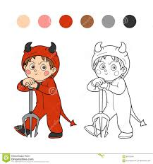 coloring book halloween character devil stock vector image