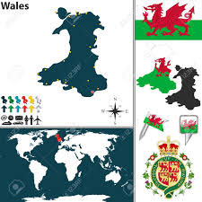 Map Of Wales Vector Map Of Wales With Coat Of Arms And Location On World Map