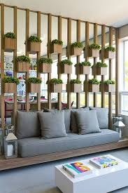 Mirror Room Divider Biophilic Design Plant Wood And Mirror Wall Feature In A Living