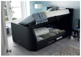 Kingsize Tv Bed Frame Kaydian Barnard 5ft Kingsize Black Leather Ottoman Tv Bed By Kaydian