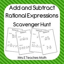 add and subtract rational expressions scavenger hunt scavenger