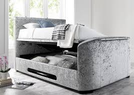 Tv Bed Frames Kingston Upholstered Velvet Platinum Tv Bed King Size Beds Bed