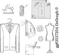 vector stock fashion designer with sewing tools and clothing