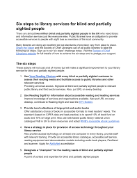 Blind Support Services Six Steps To Library Services For Blind And Partially