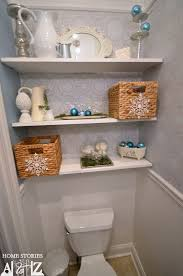 Decorating Bathroom Shelves Styled Bathroom Shelves And Also Brown Tips Floating Shelves Above