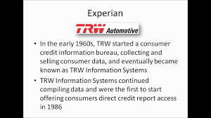 trw credit bureau experian business credit reporting