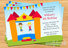 bounce house birthday invitation for boy printable