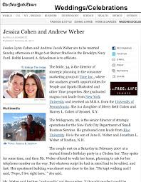 new york times wedding announcement and andrew featured in the new york times wedding section