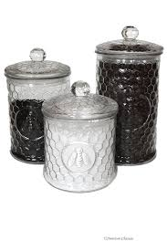 Kitchen Canisters Black Amazon Com Set 3 Large Glass Embossed Beehive Bee French Kitchen