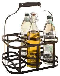 6 bottle metal rack basket caddy holder with wood handle
