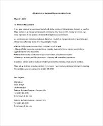 administrative assistant reference letter references letter of