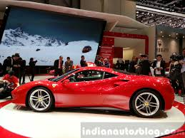 ferrari side ferrari 488 gtb side view at the 2015 geneva motor show indian