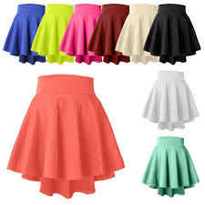 high waisted skirt womens high waisted stretch flared pleated mini skater skirt