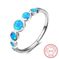 opal wedding ring 925 sterling silver rings blue opal wedding bands engagement
