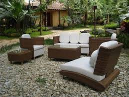 Patio Wicker Furniture Set - gravel decor for tropical patio decorating ideas with cozy wicker