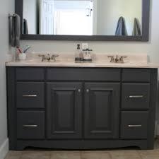 diy painting the bathroom vanity cabinet with dark gray glaze