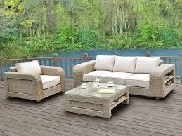 table pour canapé salon de jardin kuopio en résine tressée beige 3 1