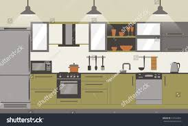 modern kitchen interior flat design home stock vector 418144951