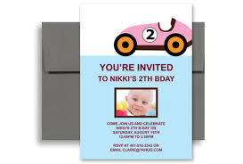two year old pink car blank birthday invitation 5x7 in