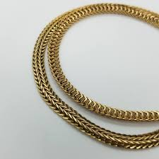 vintage gold chain necklace images Vintage gold tone wheat chain necklace with dual tone gold jpg