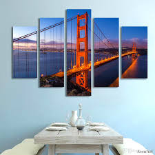 Home Decor Wall Paintings 2017 5 Panel Golden Gate Bridge Picture Wall Art Canvas Prints