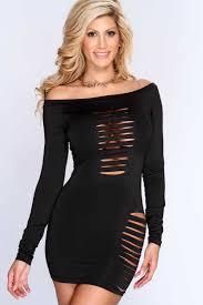 womens clothing party dresses black razor cut long sleeves