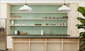 kitchen green glass tile neutral backsplash grey glass