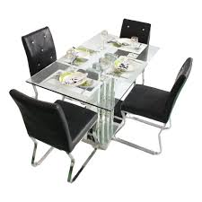 6 Seater Dining Table Design With Glass Top Crystal Diamond 4 Seater Glass Top Dining Table Set Woodys Furniture