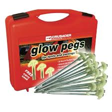 Awning Pegs Crusader Hard Ground Glow Pegs Inc Case Big White Box
