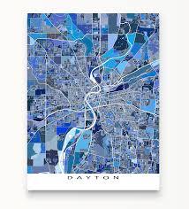 dayton map dayton map print ohio usa maps as