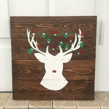 Reindeer Christmas Home Decor by Reindeer Sign Christmas Decor Christmas Pallet Deer Sign