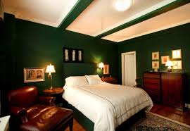 stunning dark green basement bedroom design with cozy brown