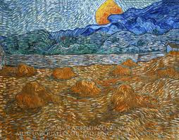 vincent van gogh landscape with wheat sheaves and rising moon