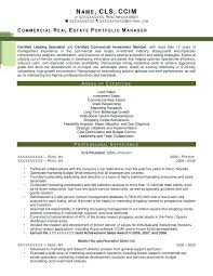 Commercial Manager Resume Sample Realtor Resume Commercial Real Estate Portfolio Manager