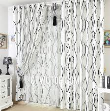 Black White Stripe Curtain Unique Printed Toile Cotton Black And White Striped Curtains