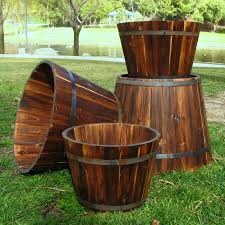 Half Barrel Planter by Shine Company Bilbao Round Cedar Wood Tall Barrel Planter Set Of