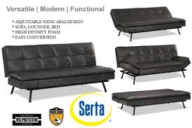 modern grey leather futon lounger myst serta euro lounger the