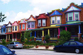 The Inner Of Beautifully Painted Houses Charles Village Baltimore Maryland The Painted Ladies Are A Row