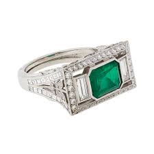 an art deco emerald diamond wedding ring buy emerald diamond rings