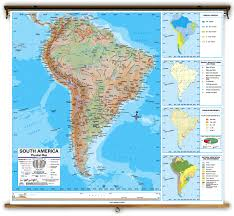 Physical Map Of South America Rivers by Advanced South America Physical Classroom Map On Spring Roller