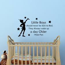popular boy quotes buy cheap lots from china removable peter pan quotes wall decal little boys should never sent bed kids room