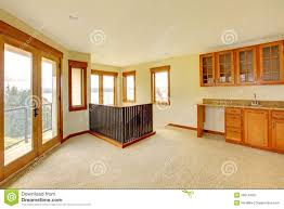 empty large room with wood cabinets new luxury home interior