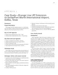 appendix l case study orange line lrt extension to dallas fort